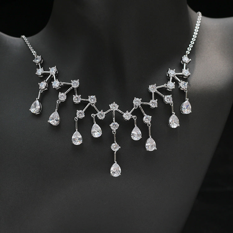 Cubic zirconia bride wedding necklace earring set top quality CN33040 - sepbridals