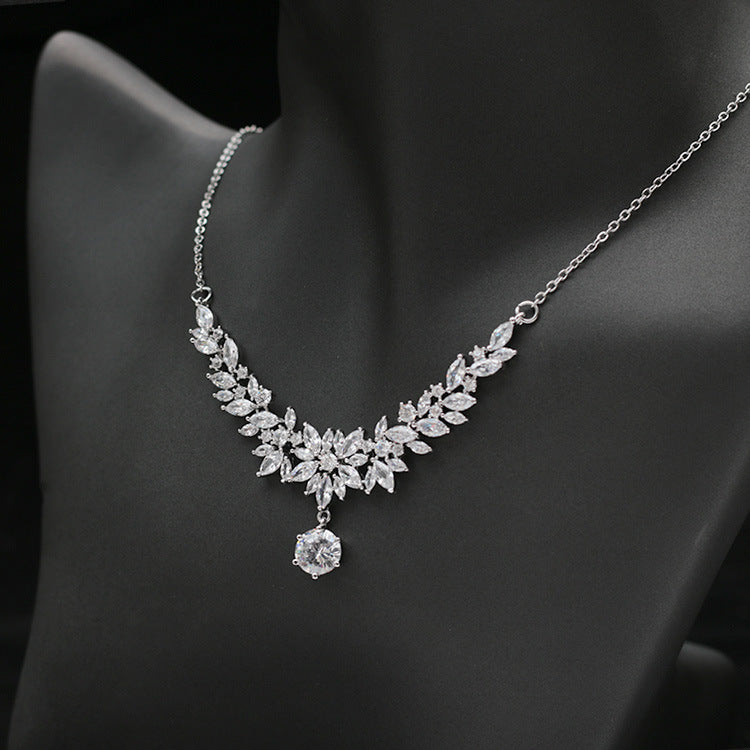 Cubic zirconia bride wedding necklace earring set top quality CN33038 - sepbridals