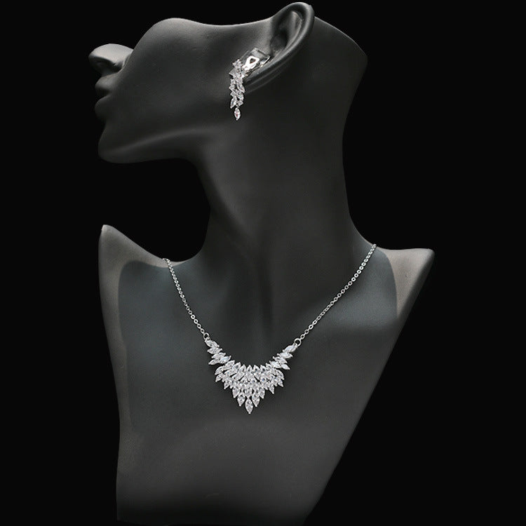 Cubic zirconia bride wedding necklace earring set top quality CN33048-1 - sepbridals