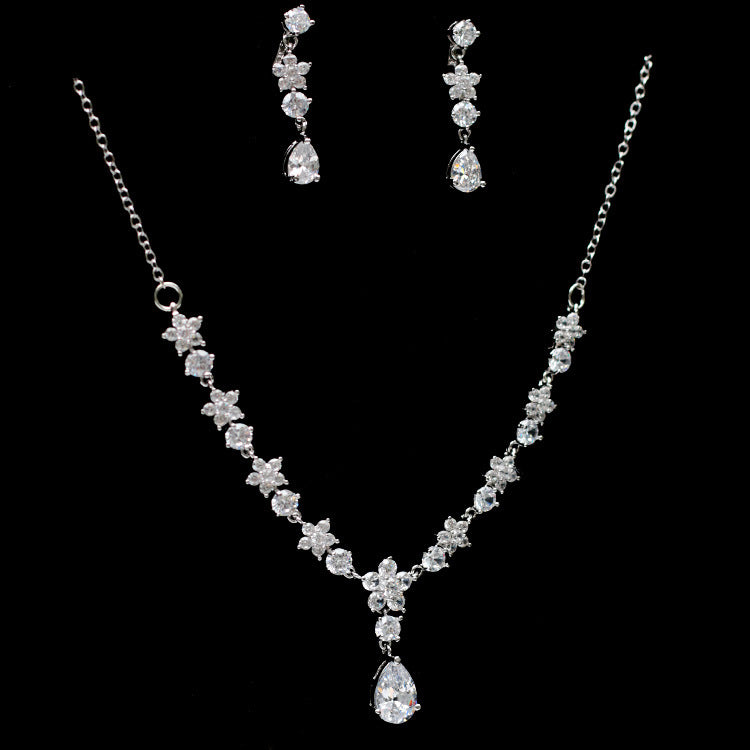 Cubic zirconia bride wedding necklace earring set top quality CN33046 - sepbridals