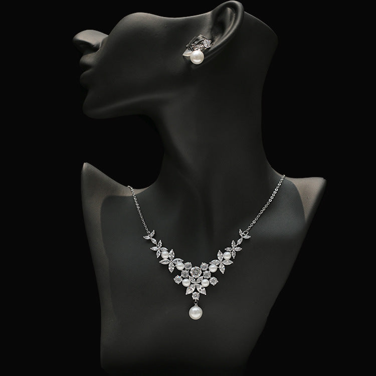 Cubic zirconia bride wedding necklace earring set top quality CN33049 - sepbridals