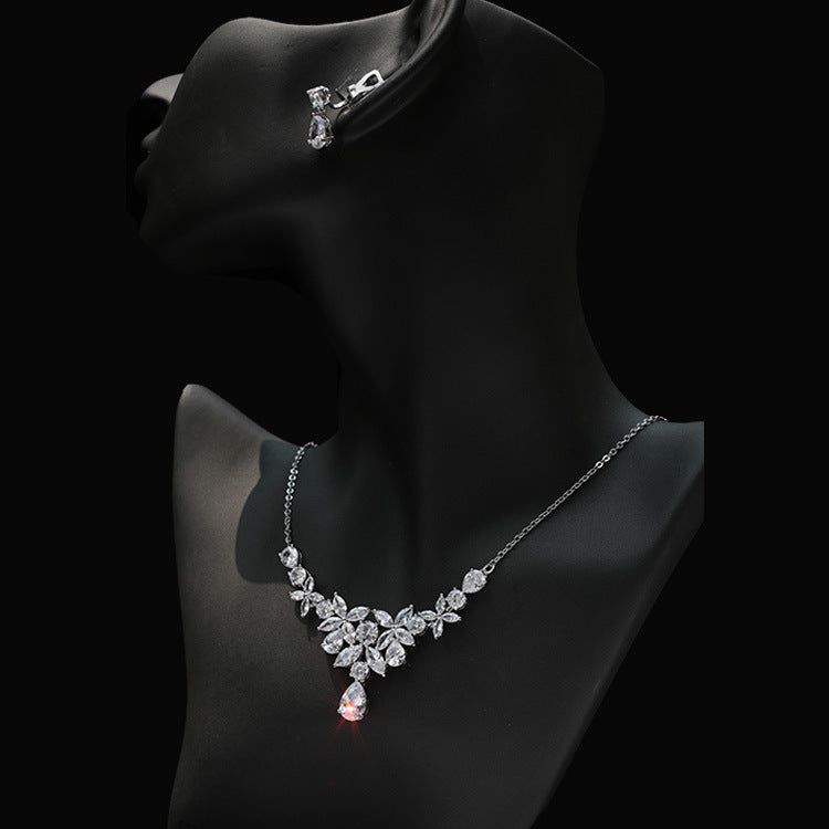 Cubic zirconia bride wedding necklace earring set top quality CN33053 - sepbridals
