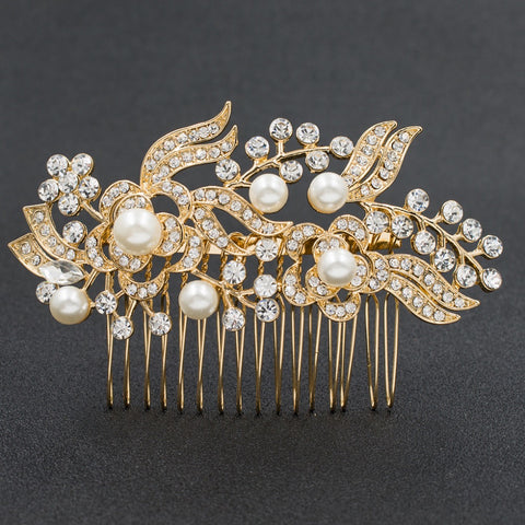 Rhinestone Crystals Flower Wedding Bridal Hair Side Comb GT4397 - sepbridals