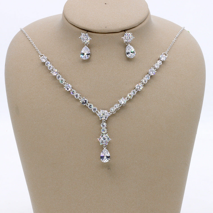 Cubic zirconia bride wedding necklace earring set top quality CN33022 - sepbridals