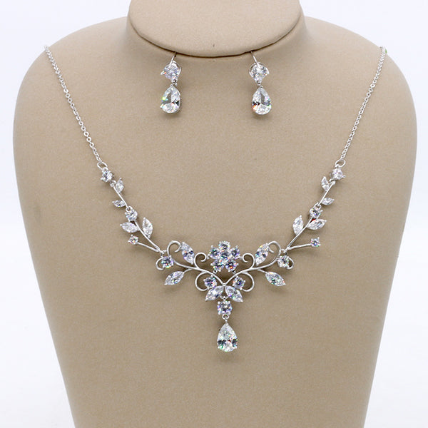 Cubic zirconia bride wedding necklace earring set top quality CN33041 - sepbridals