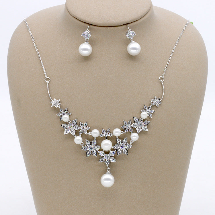 Cubic zirconia bride wedding necklace earring set top quality CN33044 - sepbridals