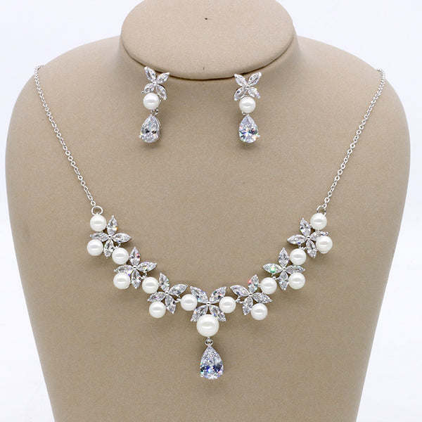 Cubic zirconia bride wedding necklace earring set top quality  CN33048 - sepbridals