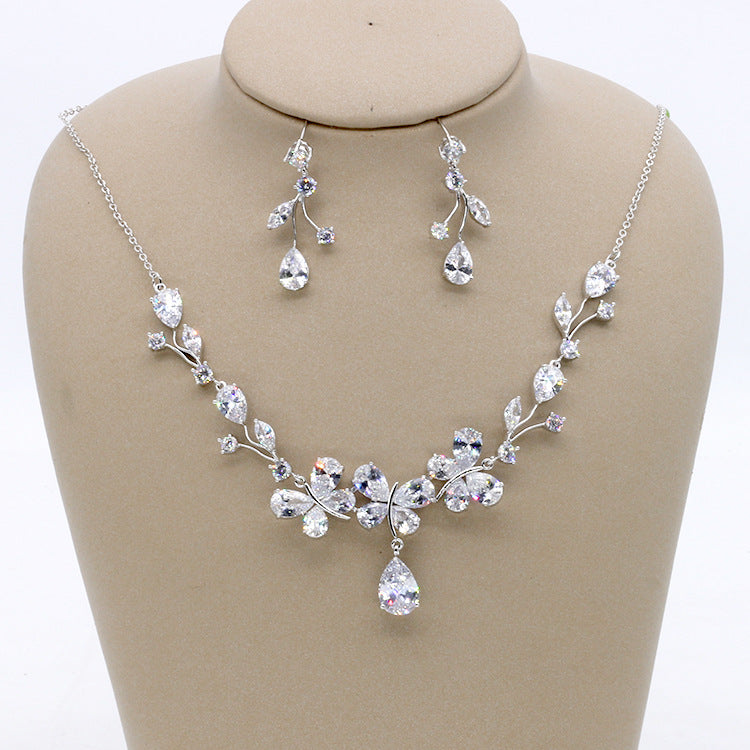Cubic zirconia bride wedding necklace earring set top quality CN33013 - sepbridals