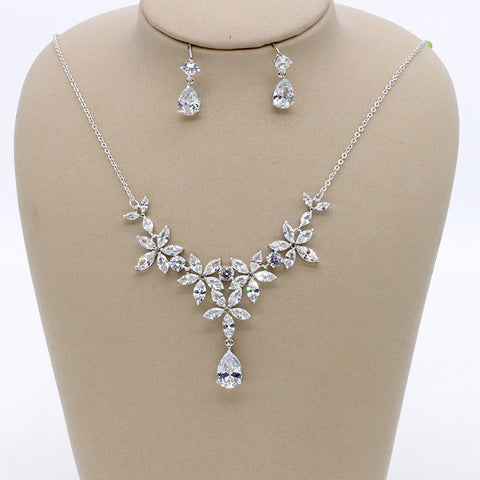 Cubic zirconia bride wedding necklace earring set top quality  CN33004 - sepbridals