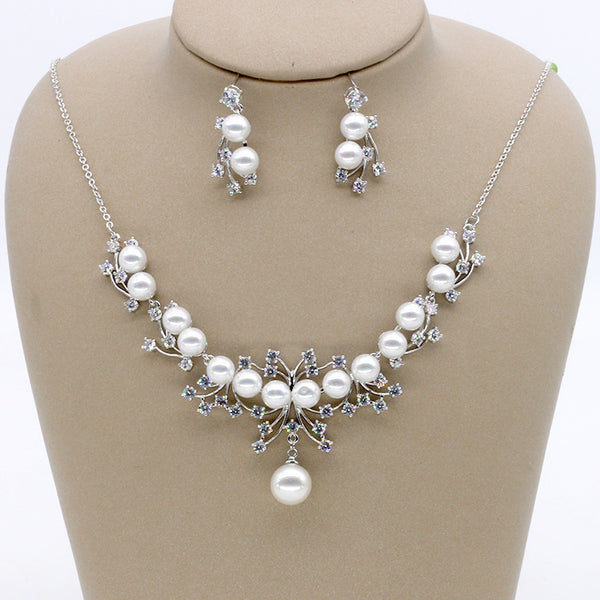 Cubic zirconia bride wedding necklace earring set top quality CN33036 - sepbridals