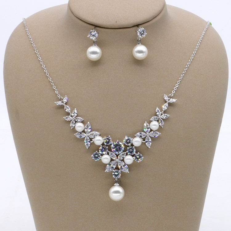 Cubic zirconia bride wedding necklace earring set top quality CN33001 - sepbridals