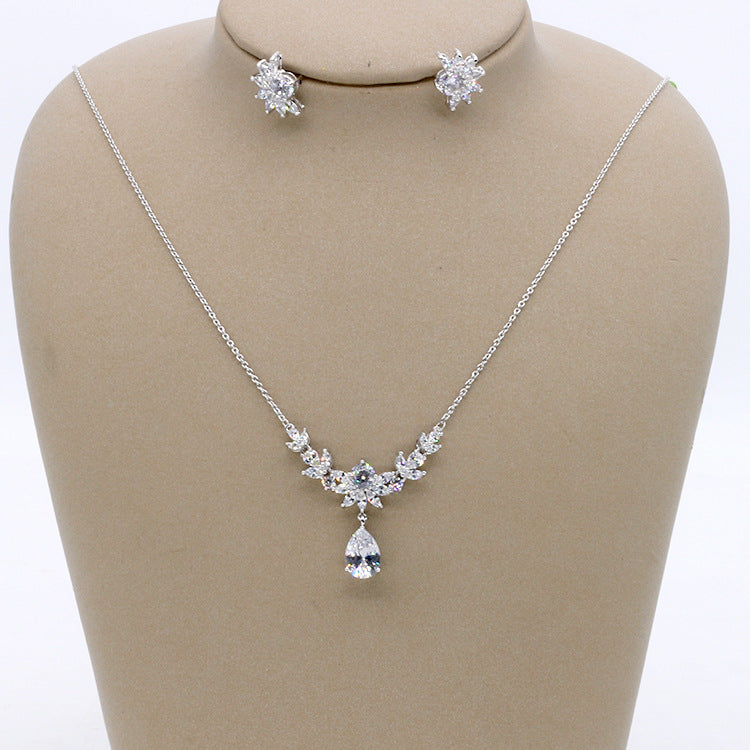 Cubic zirconia bride wedding necklace earring set top quality CN33003 - sepbridals