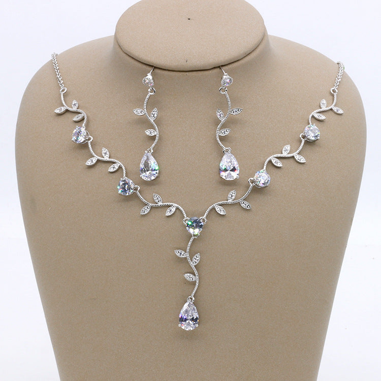 Cubic zirconia bride wedding necklace earring set top quality CN33043 - sepbridals