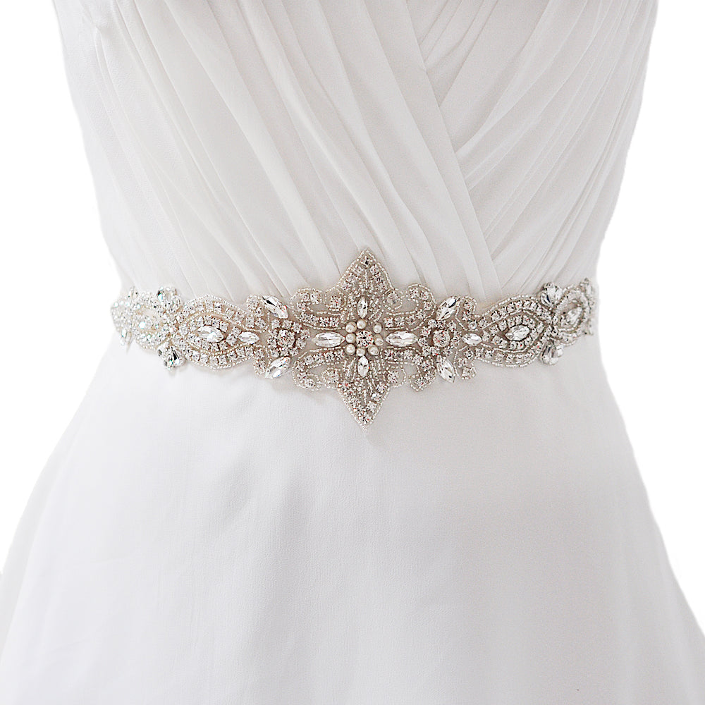 Handmade Rhinestone Crystals Wide Wedding Dress Sash Belt S245 - sepbridals