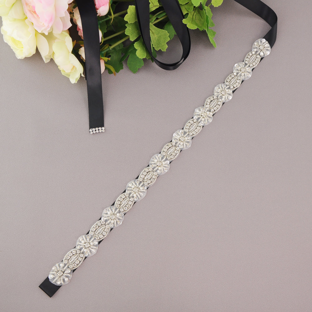 Handmade Rhinestone Crystals Wide Wedding Dress Sash Belt S230 - sepbridals