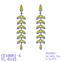 Cubic Zirconia Drop Dangle Bridal Wedding Leaf Earring CE10081