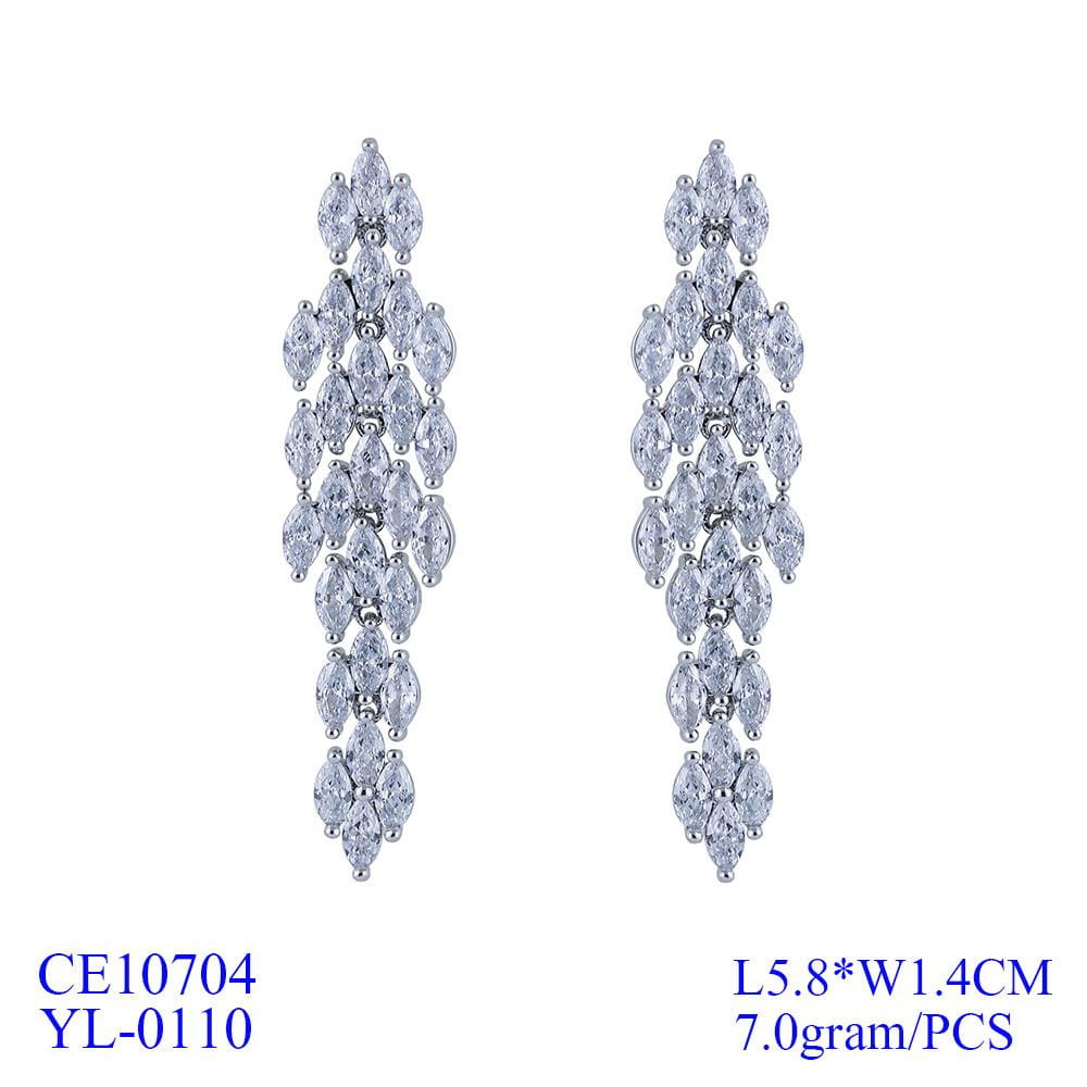 Crystal Cubic Zirconia CZ Copper Water Drop Dangle Earring CE10704 - sepbridals