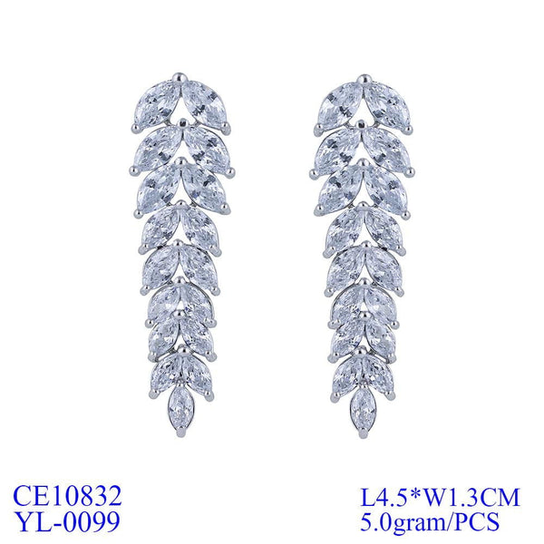 Crystal Cubic Zirconia CZ Copper Water Drop Dangle Earring CE10832 - sepbridals