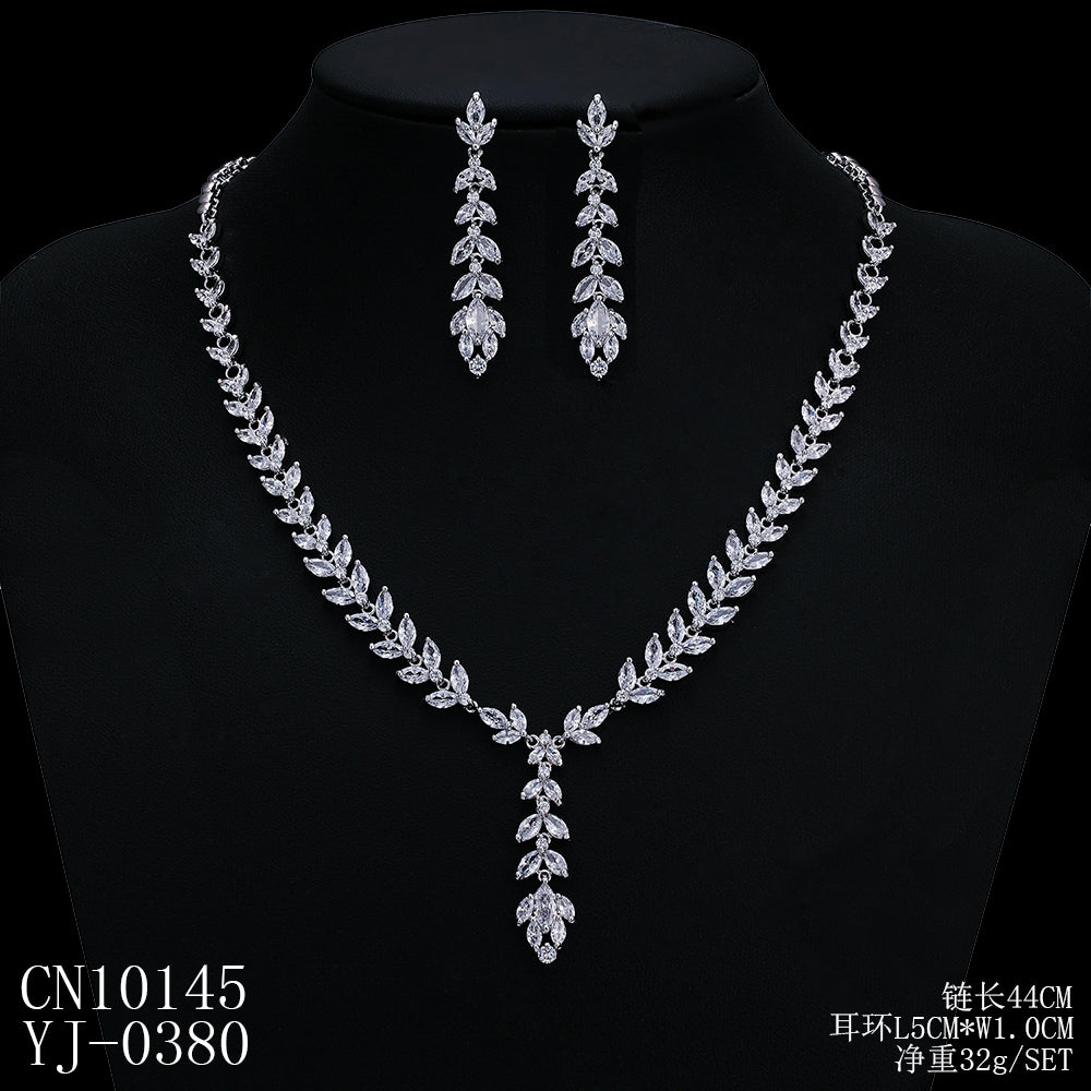 Cubic zirconia bride wedding necklace earring set top quality  CN10145 - sepbridals
