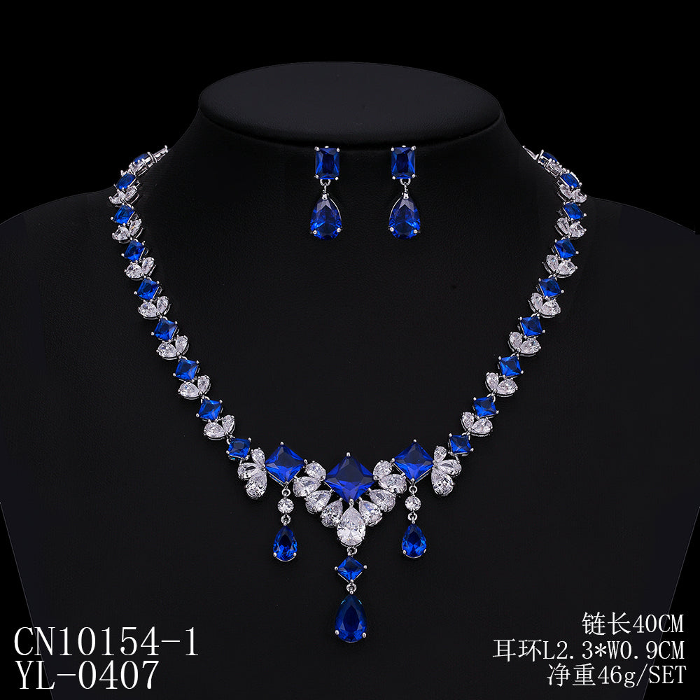 Cubic zirconia bride wedding necklace earring set top quality  CN10154 - sepbridals