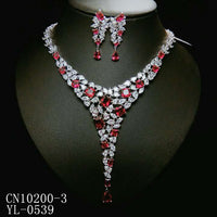 Cubic zirconia bride wedding necklace earring set top quality CN10200 - sepbridals