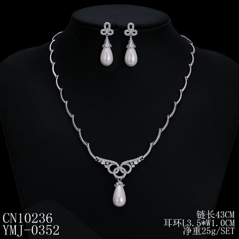 Cubic zirconia bride wedding necklace earring set top quality  CN10236 - sepbridals