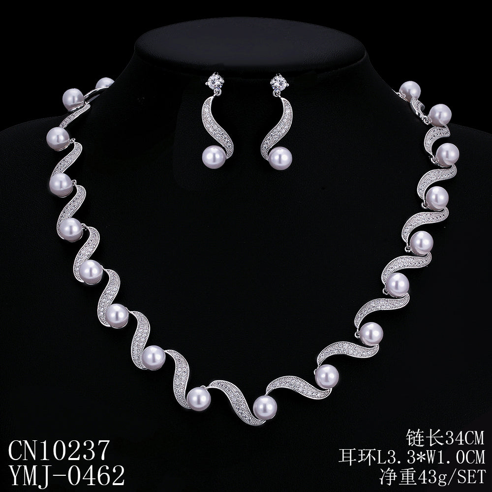 Cubic zirconia bride wedding necklace earring set top quality  CN10237 - sepbridals