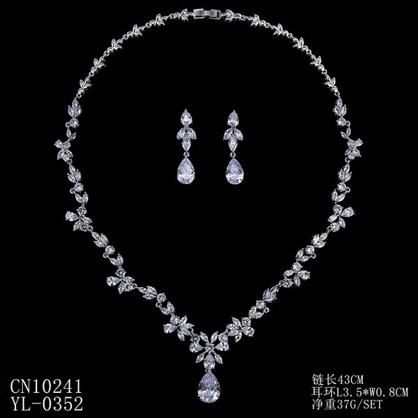 Cubic zirconia bride wedding necklace earring set top quality CN10241