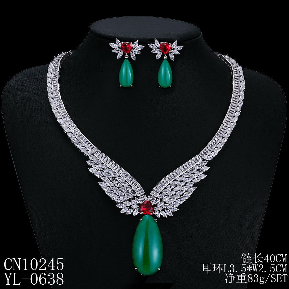 Cubic zirconia bride wedding necklace earring set top quality  CN10245 - sepbridals