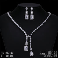 Cubic zirconia bride wedding necklace earring set top quality  CN10256 - sepbridals