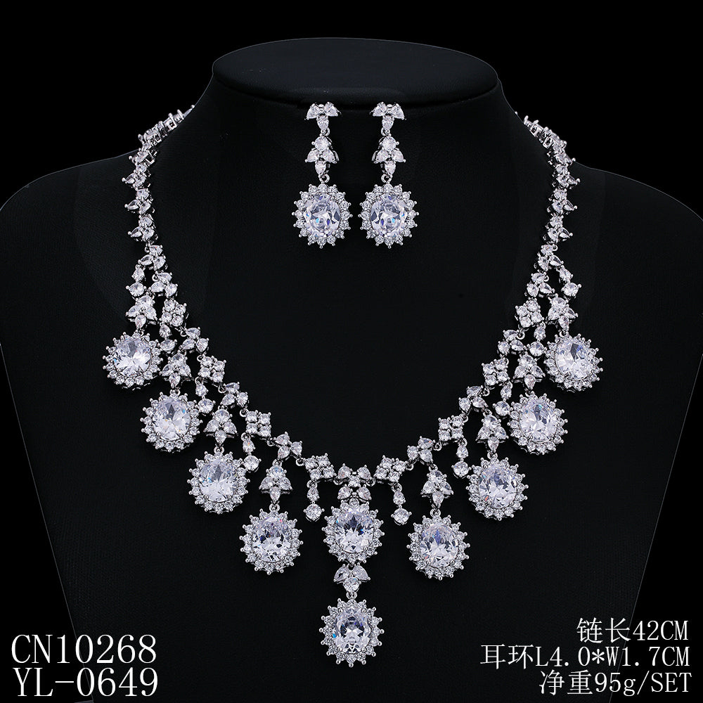 Cubic zirconia bride wedding necklace earring set top quality  CN10268 - sepbridals
