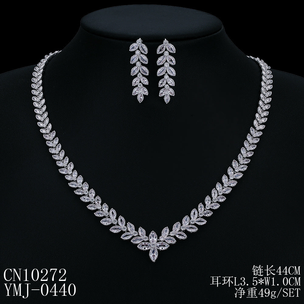 Cubic zirconia bride wedding necklace earring set top quality  CN10272 - sepbridals
