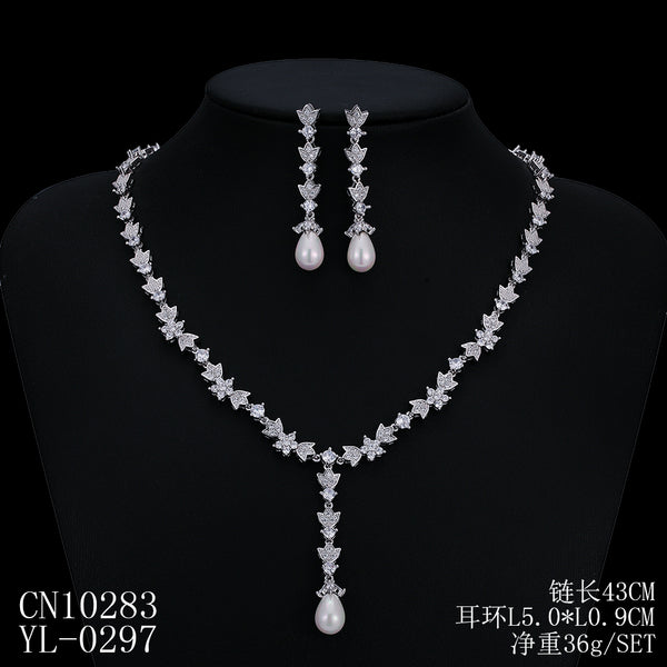 Cubic zirconia bride wedding necklace earring set top quality  CN10283 - sepbridals
