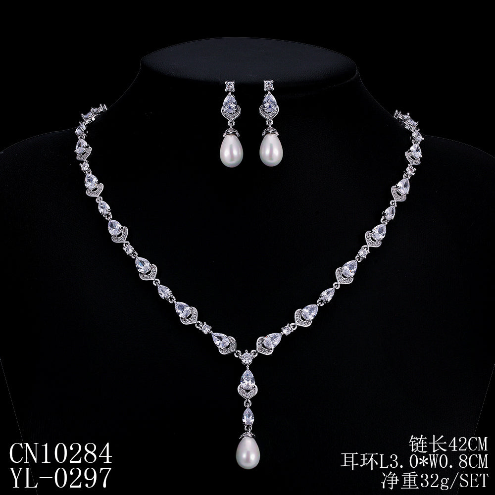 Cubic zirconia bride wedding necklace earring set top quality  CN10284 - sepbridals