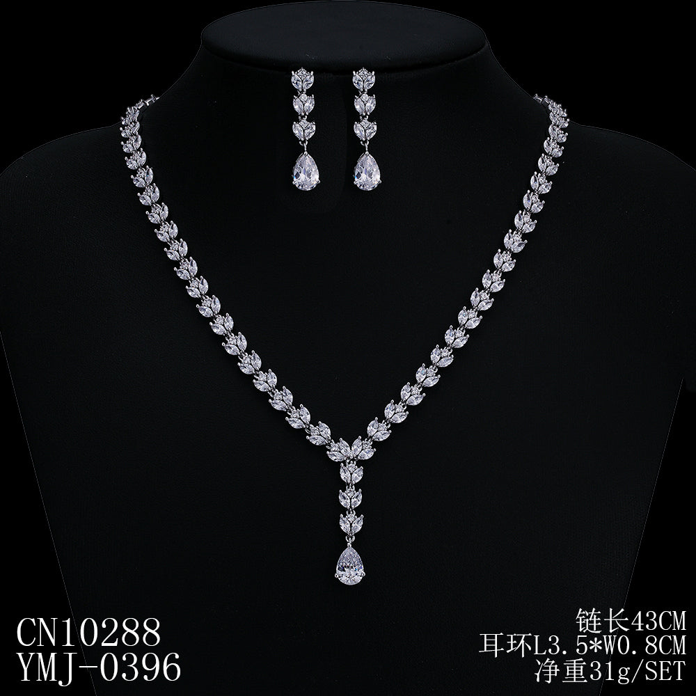 Cubic zirconia bride wedding necklace earring set top quality  CN10288 - sepbridals
