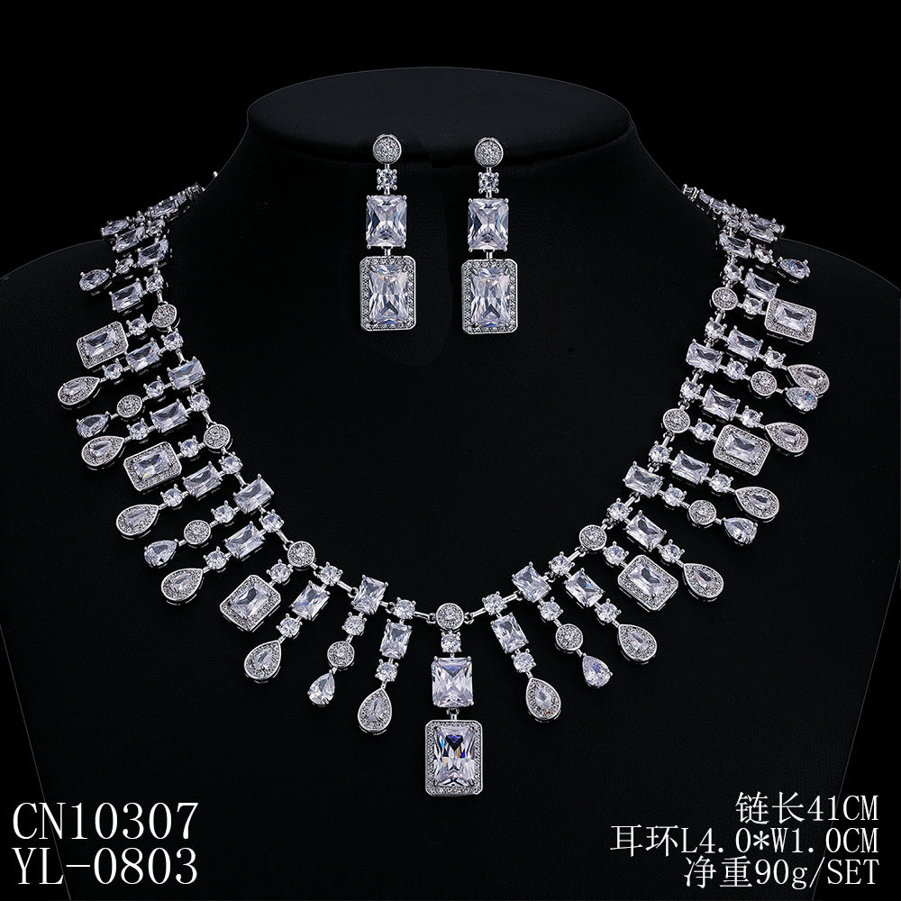 Cubic zirconia bride wedding necklace earring set top quality  CN10307 - sepbridals