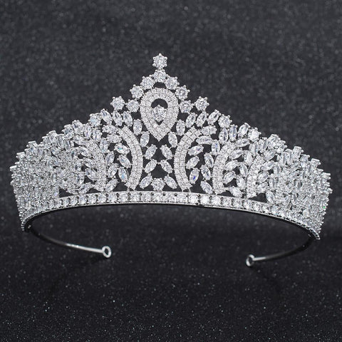 Cubic Zirconia Wedding Bridal Tiara Crown Diadem Hair Accessories CH10274 - sepbridals