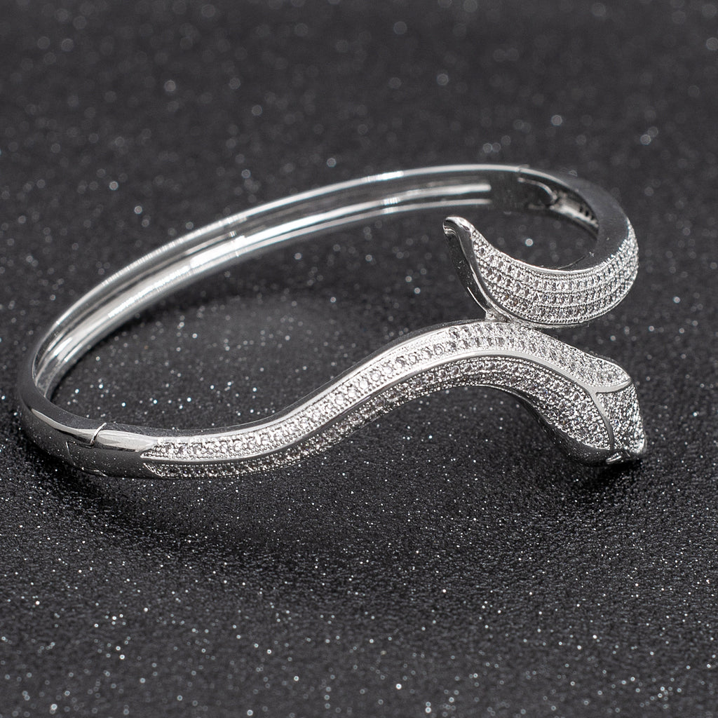 CZ Cubic Zircon Snake Bracelet Bangle Cuff with Copper A10056 - sepbridals