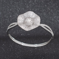 5A CZ Cubic Zircon Flower Bracelet Bangle A10092 - sepbridals