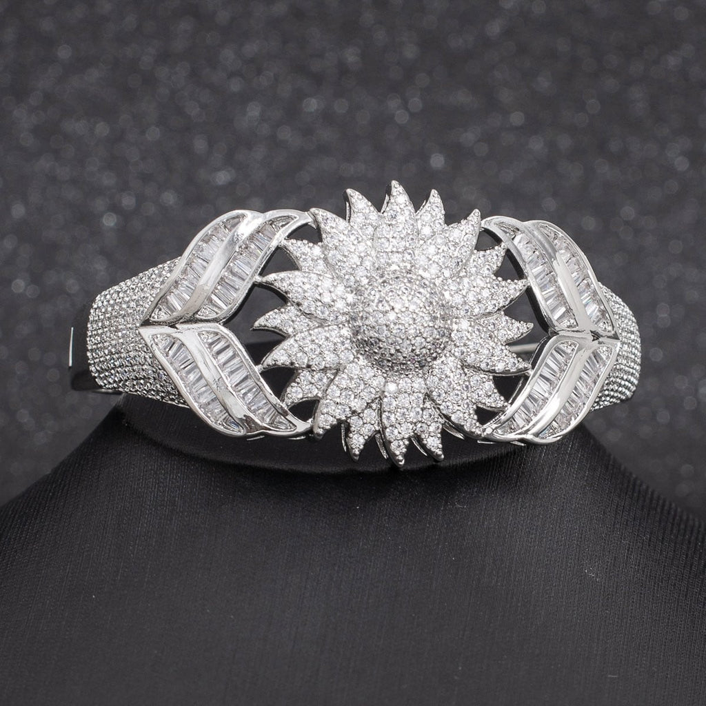 5A CZ Cubic Zircon Sunflower Bracelet Bangle A10120 - sepbridals