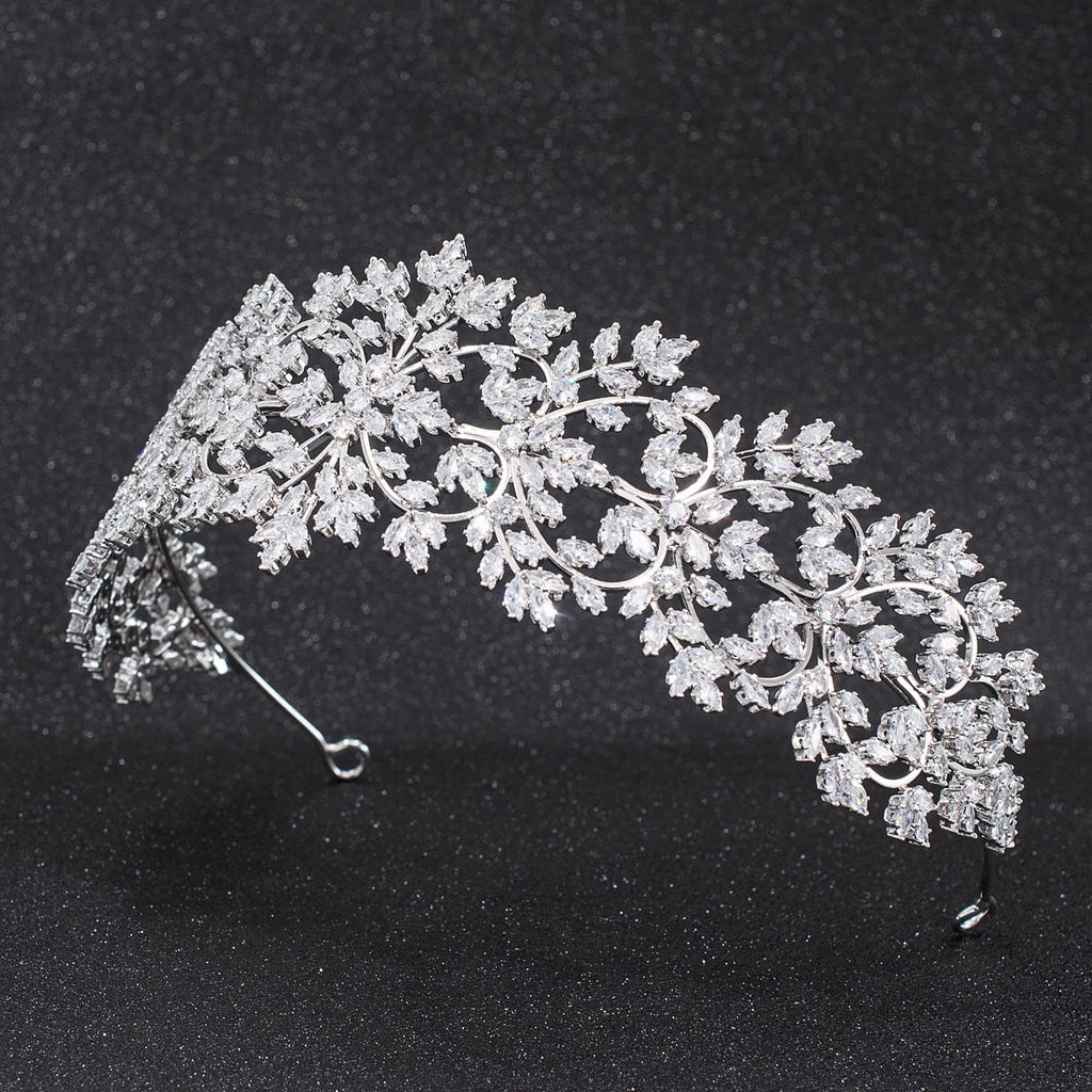 Crystal Cubic Zirconia Bridal Wedding Soft Heart Headband Hairband Tiara   CHA10028 - sepbridals