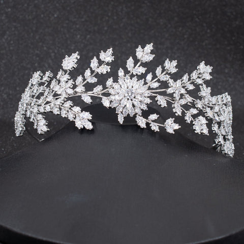 Crystal Cubic Zirconia Bridal Wedding Soft Flower Headband Hairband Tiara CHA10029 - sepbridals
