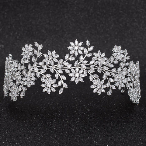 Crystal Cubic Zirconia Bridal Wedding Bridal Soft Flower Headband Tiara CHA10031 - sepbridals