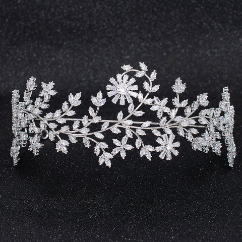Crystal Cubic Zirconia Bridal Wedding Soft Flower Headband Hairband Tiara CHA10030 - sepbridals