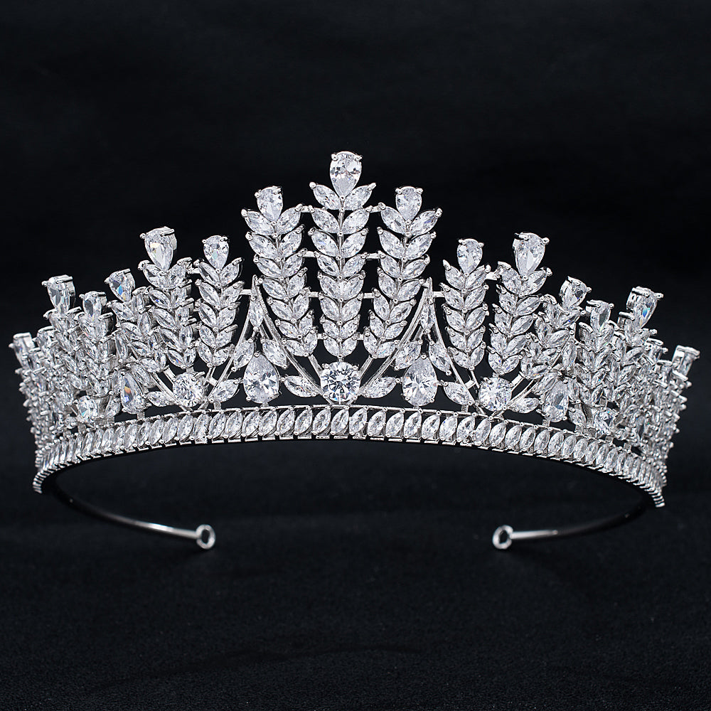 Cubic Zirconia Wedding Bridal Princess Wheat Tiara Crown CH10322 - sepbridals