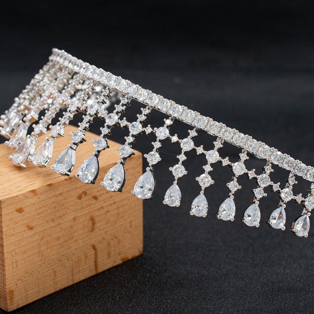 Cubic zircon wedding  bridal royal tiara diadem crown  CH10330 - sepbridals