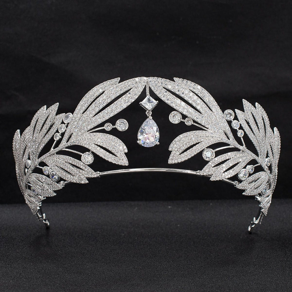 Cubic zircon wedding  bridal royal tiara diadem crown  CH10333 - sepbridals