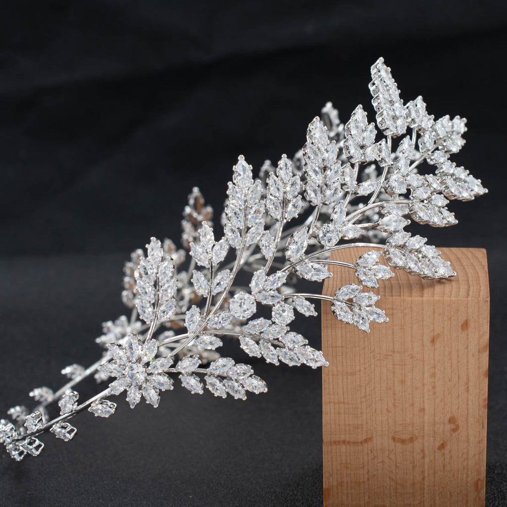3/4 Round Cubic Zirconia Bridal Wedding Leaves Headband Hair Band Tiara for Women CHA10052 - sepbridals