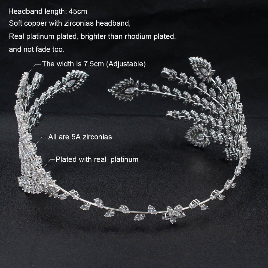 3/4 Round Cubic Zirconia Bridal Wedding Feather Headband Hair Band Tiara for Women CHA10049 - sepbridals