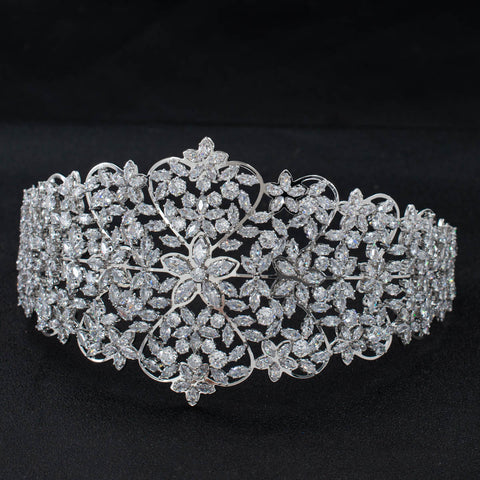 Wide Cubic Zirconia Bridal Wedding Soft Headband Hair Band Tiara for Women CHA10036 - sepbridals
